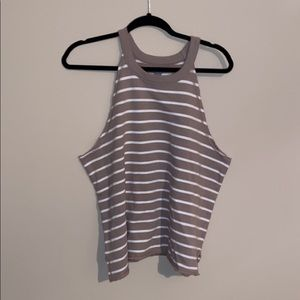 tan striped sleeveless shirt NWT